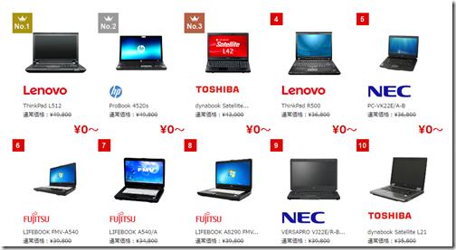 インターネット契約の特典用パソコン
