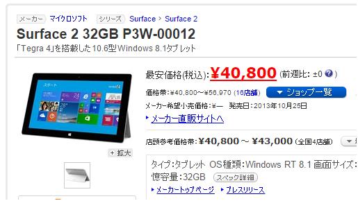 ヨドバシカメラのタブレット福袋2016予想 2015年版の中身 surface2 32GB
